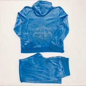 Juicy Couture Light Blue Velour 2Pcs Tracksuit M/L